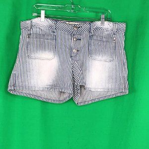 LEI 15 Blue White Striped Denim Shorts Button Fly